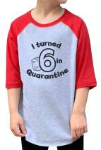 7 ate 9 Apparel Kids Six Birthday Quarantine Red Baseball Tee