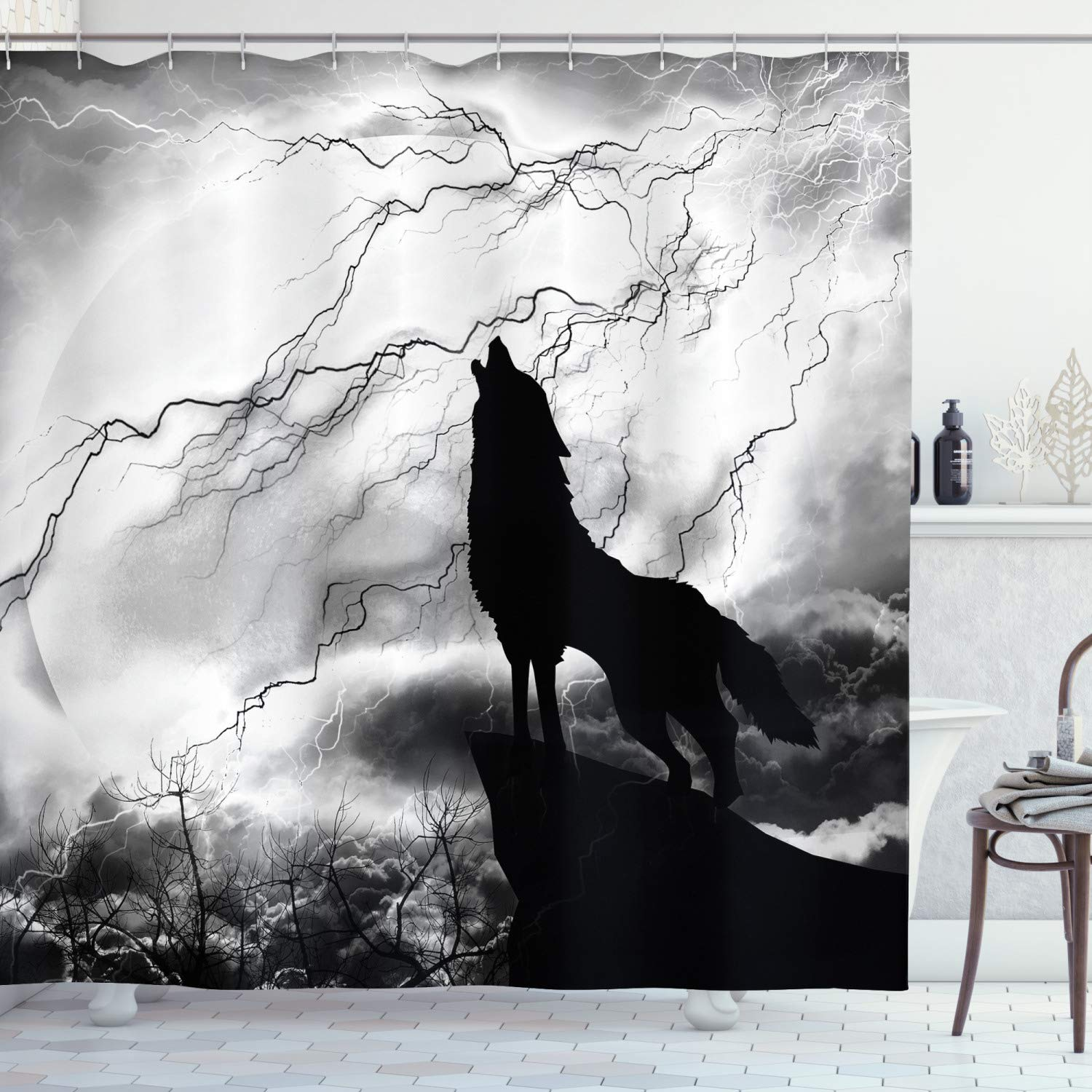 """Ambesonne Wolf Shower Curtain, Howling Animal Silhouette on a Cliff Under Full Moon Mysterious Dramatic Sky, Cloth Fabric Bathroom Decor Set with Hooks, 84"""" Long Extra, Monochrome"""