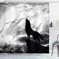 """Ambesonne Wolf Shower Curtain, Howling Animal Silhouette on a Cliff Under Full Moon Mysterious Dramatic Sky, Cloth Fabric Bathroom Decor Set with Hooks, 75"""" Long, Monochrome"""