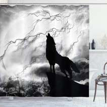 "Ambesonne Wolf Shower Curtain, Howling Animal Silhouette on a Cliff Under Full Moon Mysterious Dramatic Sky, Cloth Fabric Bathroom Decor Set with Hooks, 84"" Long Extra, Monochrome"