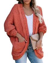 Imily Bela Womens Chunky Knit Oversized Cardigan Fall Batwing Sleeve Open Front Slouchy Pocket Sweater Coat