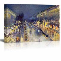 "wall26 - The Boulevard Montmartre at Night by Camille Pissarro - Canvas Print Wall Art Famous Oil Painting Reproduction - 16"" x 24"""
