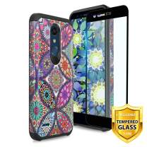 TJS Phone Case for LG K40/K12 Plus/X4/Solo LTE/Harmony 3/Xpression Plus 2, with [Full Coverage Tempered Glass Screen Protector] Dual Layer Hybrid Shockproof Impact Rugged Armor (Colorful Mandala)