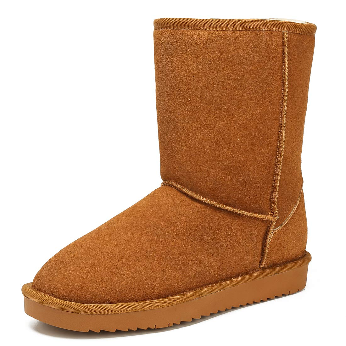 SEMARY Womens Classic Snow Boots Warm Genuine Suede Leather Winter Short Boot Flat Anti-Slip Fur Lining Mid-Calf Outdoor Slip on Boots
