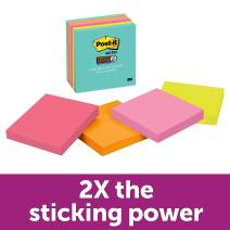 """Post-it Super Sticky Notes, 2x Sticking Power, 3"""" x 3"""", Miami Collection, 6 Pads per Pack, 65 Sheets per Pad (654-6SSMIA)"""