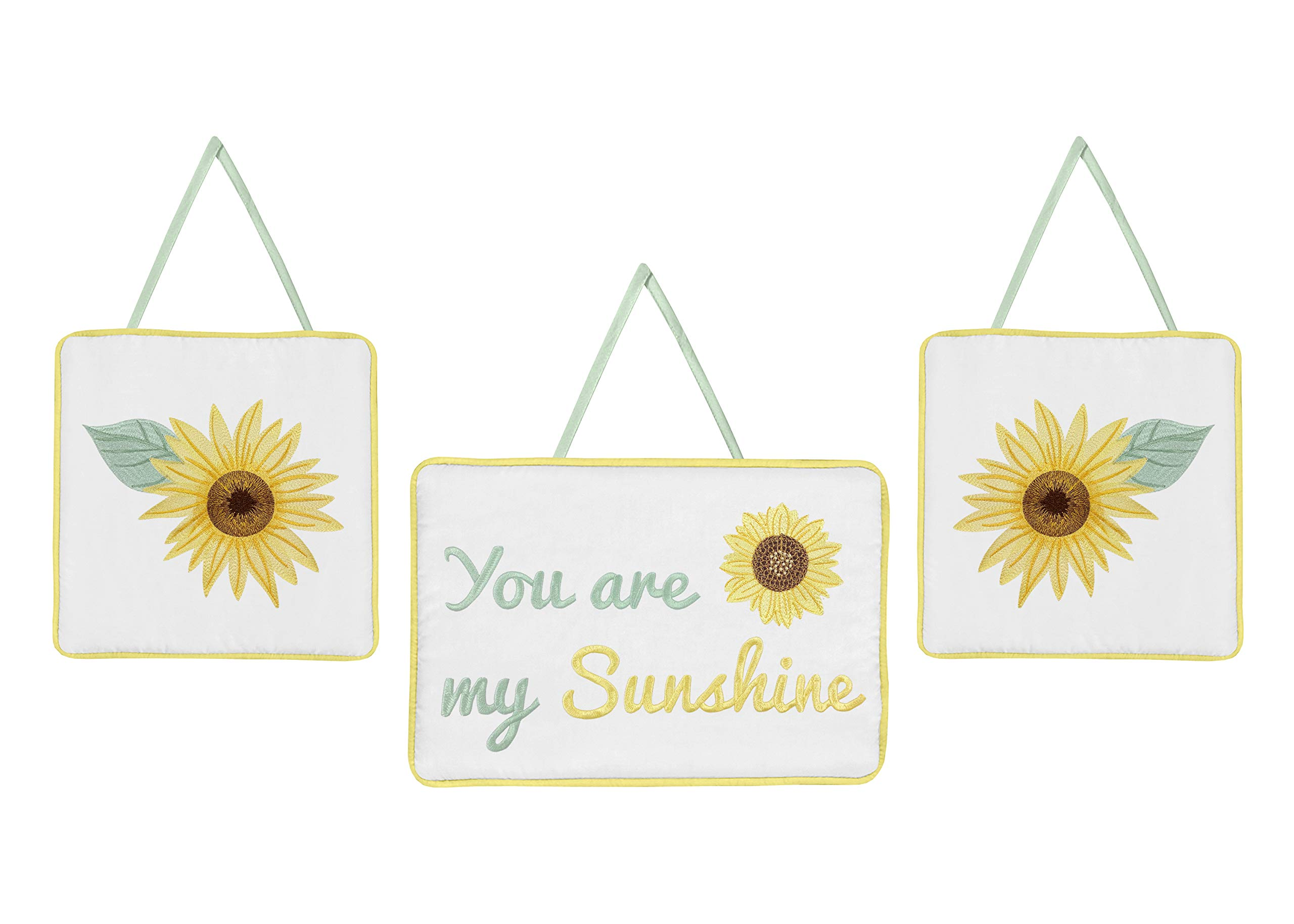 Sweet Jojo Designs Yellow, Green and White Sunflower Boho Floral Wall Hanging Decor - Set of 3 - Farmhouse Watercolor Flower