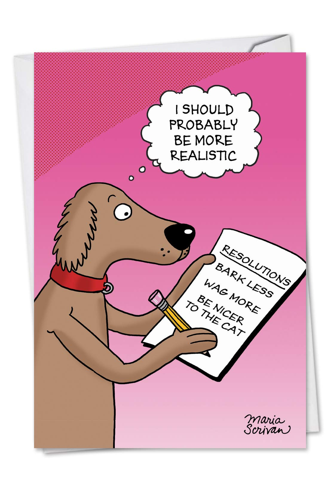 Dog Resolutions - Hilarious New Year Greeting Card with Envelope (4.63 x 6.75 Inch) - Pet Dog Resolution List, Animal New Year's Notecard for Kids, Adults - NYE Cartoon Holiday Stationery C4520NYG