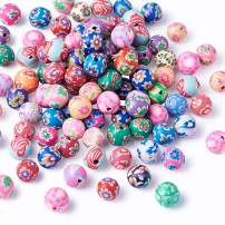 Beadrhoven 200-Piece 8mm Round Polymer Clay Beads Mixed Color Assorted Patten Jewelry Handmade Painted Beads for Making Bracelets Necklaces Earrings