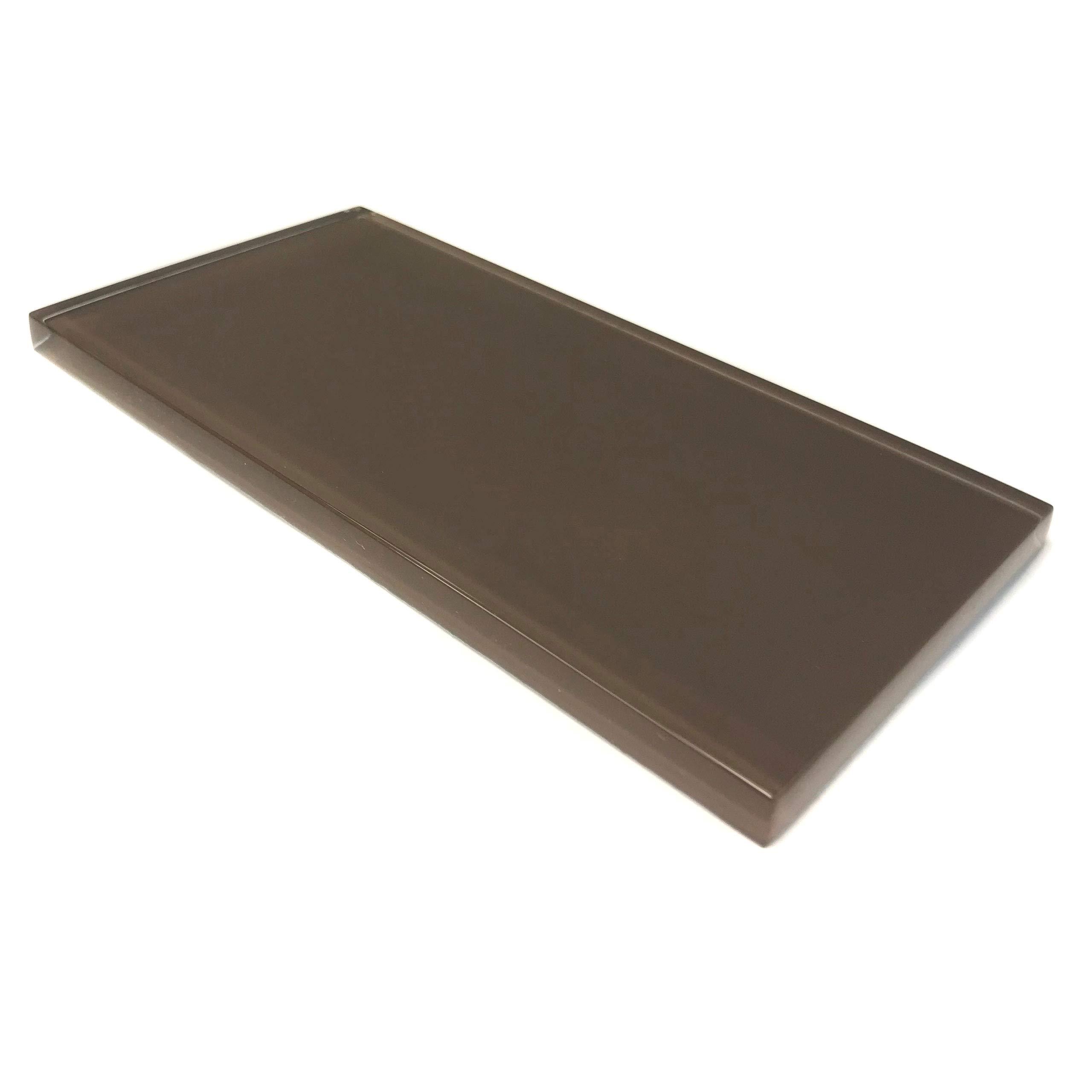 Giorbello Glass Subway Backsplash Tile, 3 x 6, Classic Brown, Sample Tile (1 Piece)