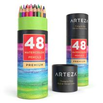 Arteza Watercolor Pencils, Professional Set of 48, Presharpened, Triangular-Shaped Colored Pencils for Adults and Kids, For Drawing, Sketching, and Painting