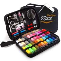 Sewing Kit, 97 PCS DIY Premium Sewing Supplies, Zipper Portable Mini Sew Kits for Kids, Traveler, Beginner, Emergency, Filled with Scissors, Thimble, Thread, Needles, Tape Measure, Carrying Case