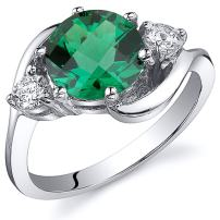 Peora Simulated Emerald Ring in Sterling Silver, Round Shape, 8mm, 1.75 Carats total, Sizes 5 to 9