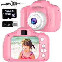 Micoo Kid Camera for Girls or Boys Age 3-10, Anti-Drop Toddler Digital Camera with Soft Silicone Shell and 8 Mega Pixel Dual Lens 2.0 inch HD Screen with Mic and16GB Memory Card