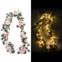 Ling's moment 6.5FT Flower Table Runner Rose Eucalyptus Garland with Light for Wedding Reception Centerpiece