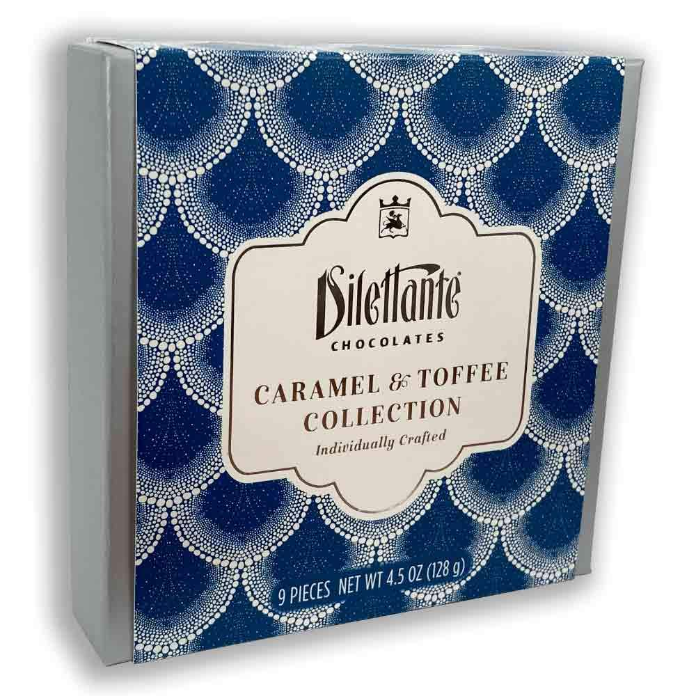 Caramel and Toffee Gift Box 9-Piece Assortment | Hand-Dipped Chocolate Caramels & Toffee | Beautiful Blue and Silver Packaging | Sweet and Salty Flavor | 4.5-Ounce Gift Box | By Dilettante Chocolates