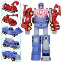 KOODER 5-in-1 Transformers Toys,Construction Vehicles for Kids,Transform Robot Car Toys Truck, Giant Pull-Back Truck Toys for Kids, Boys & Girls Kids Xmas Birthday Gift Transformer Truck Playsets