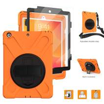 iPad Case 10.2 with Strap,[Built In Screen Protector] TSQ iPad 7th Generation Cases Heavy Duty Shockproof Durable Rugged Protective Case with 360 Degree rotating Stand/Hand Strap+Shoulder Strap,Orange