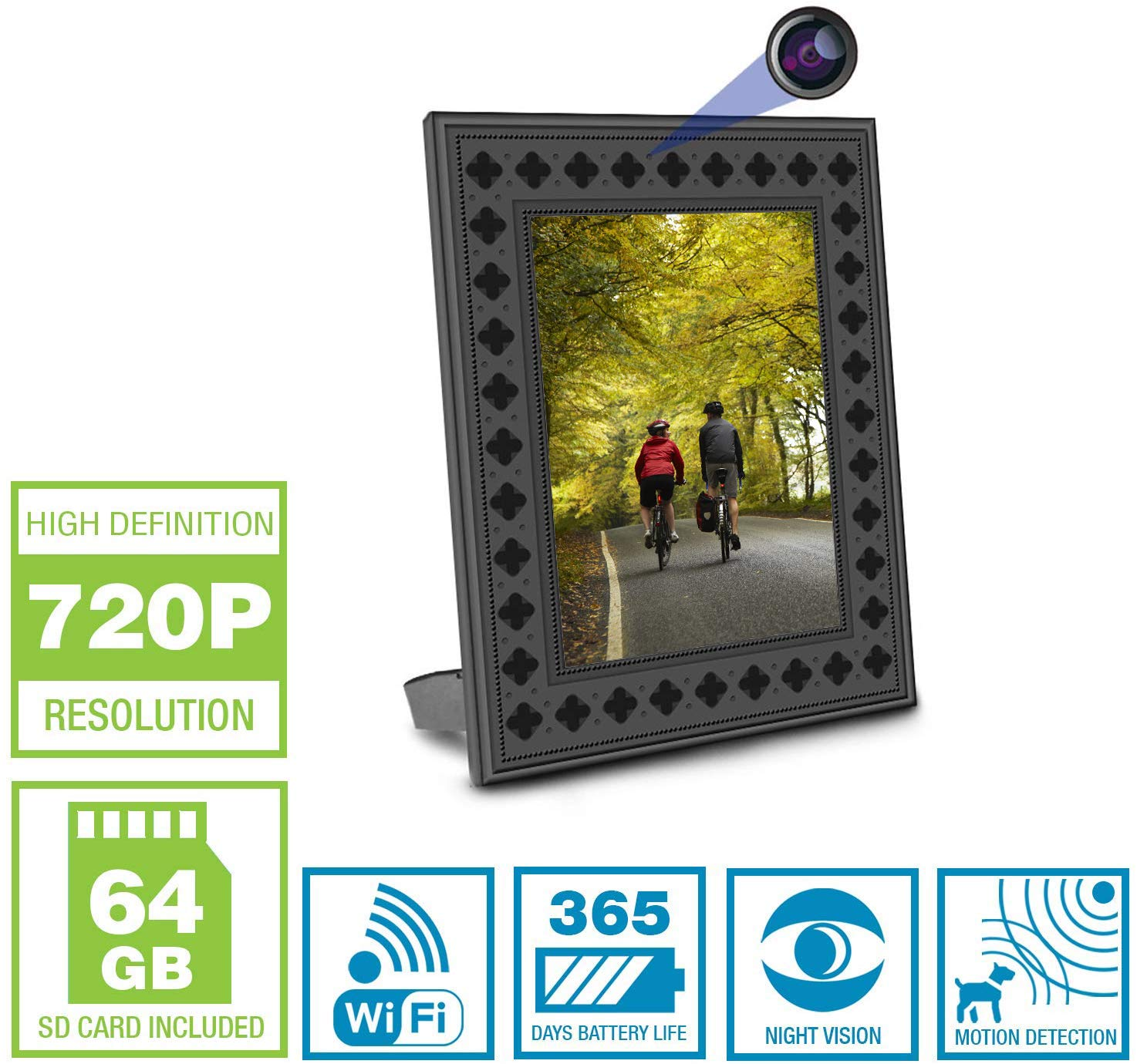 NuCam Yieye WiFi Photo Frame Hidden Spy Camera for Home/Office Security & Pet/Kid Surveillance w. 720P HD, 365 Days Battery Life, Night Vision & Instant Alerts(Bonus 64GB SD Card Included)