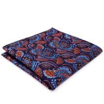 SHLAX&WING Mens Silk Pocket Square Blue Paisley Business Hanky Jacquard Woven
