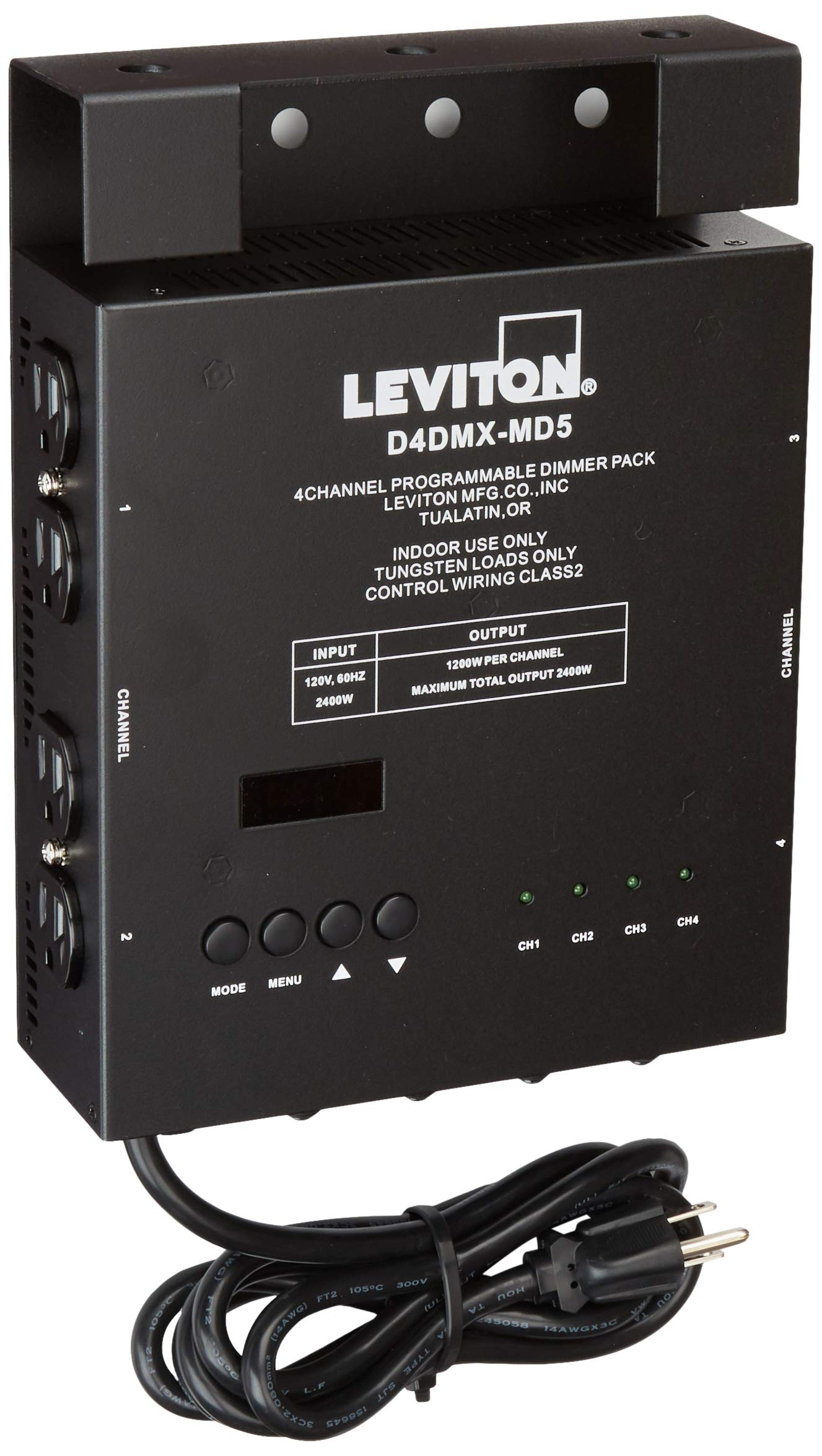 Leviton D4DMX-MD5 4-Channel Programmable Dimmer Pack Integrating Stand-Alone, 3-Pin DMX 15A Power Cord