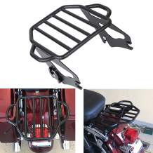 AUFER Black Detachable Adjustable Two Up Tour Pak Luggage Rack Mounting Trunk Rack Fits For Touring Electra Glide Road King Street Glide 2009-2020