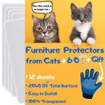 Furniture Protectors from Cats Scratching - Cat Furniture Protector, 12 Pack, Couch Protectors from Cats Scratching, Cat Scratch Deterrent, Includes Cat Glove