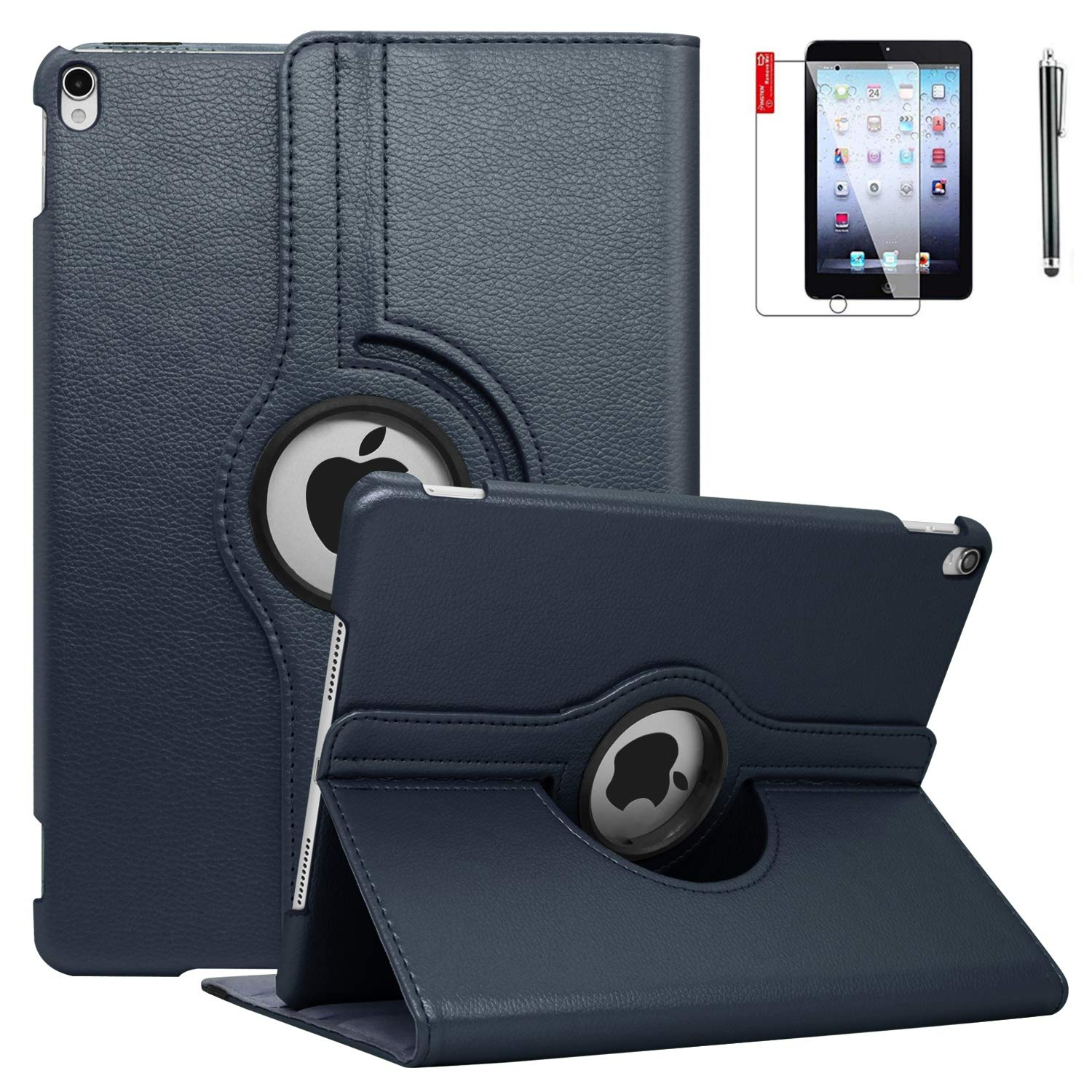 iPad Case Mini 3 with Bonus Screen Protector and Stylus - iPad Mini 3/2/1 Case Cover - 360 Degree Rotating Stand with Auto Sleep/Wake for Mini 1st/ 2nd/ 3rd Generation - A1599 A1600(Navy Blue)