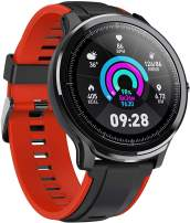 """Smart Watch Sport Smart Watch Fitness Tracker for Android and iOS Phone Activity Tracker with 1.3"""" Full Touch Screen, Camera Music Control IP68 Waterproof Smartwatch,Ultra-Long Battery Life, Red"""