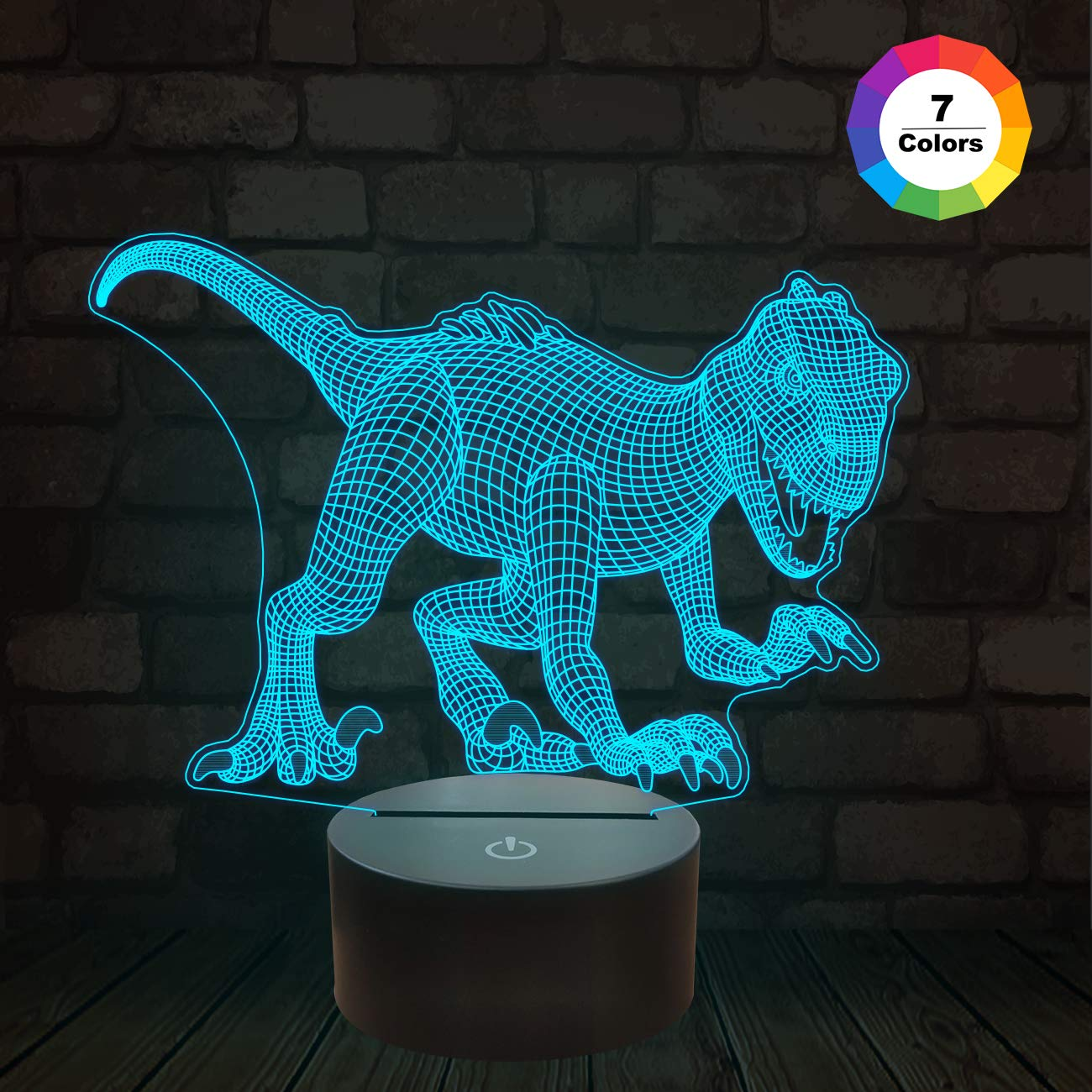 FULLOSUN Jurassic Dinosaur Night Light, 3D Velociraptor Raptor Illusion Bedside Lamp with 7 Colors Changing Kids' Room Décor Birthday Gifts for Boys Baby Teens