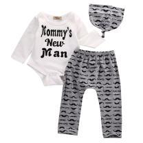 hirigin 3Pcs Newborn Baby Boy Clothes Baby Shower Deer Printed Long Sleeve Outfit Romper Pants Hat