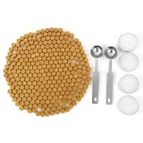 Gold Sealing Wax Beads, Yoption 300 Pieces Octagon Seal Wax Beads with 4 Candles and 2 Melting Spoons for Wax Seal Stamp (Gold)