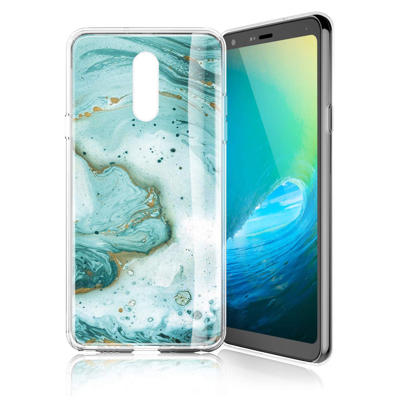 TJS Phone Case for LG K10 2018/K30/Premier Pro LTE/Harmony 2/Phoenix Plus/Xpression Plus, Slim TPU Matte Color Marble Transparent Clear Soft Skin Drop Protector Back Cover (Green)