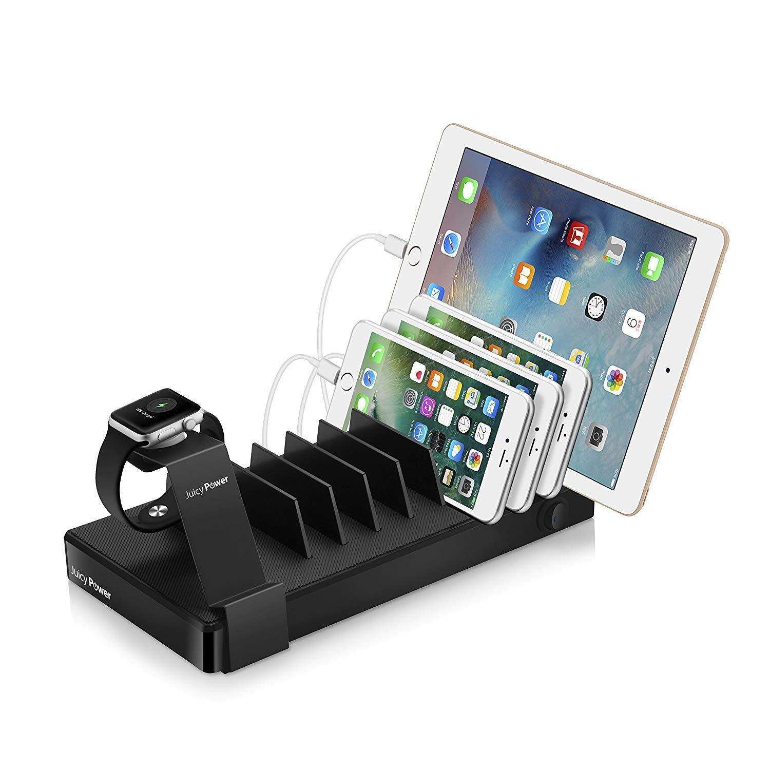 Juicy Power 90Watt iPhone iPad Charging Station 10 Ports - Charge & Organize 9 Apple Devices - with 1 USB-C Charging Port & Apple Watch Organizer