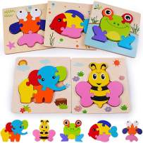 Rolimate Wooden Jigsaw Puzzles for 3 4 5+ Years Old Boys Girls Toddlers, Early Educational Preschool Montessori Toys 5 Animals Pack for Birthday Gift,Learning Toy Fine Motor Color Shape Recognition