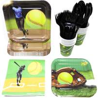 Softball Party Supplies (113+ Pieces for 16 Guests!), Softball Birthday Party Kit, Softball Tableware Pack, Decorations