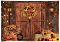 Funnytree Soft Fabric 7x5FT Fall Thanksgiving Wooden Barn Backdrop Rustic Door Autumn Harvest Photography Background Fall in Love Wedding Banner Decor Party Supplies Photo Booth Prop