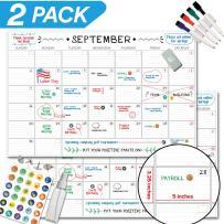 "X Large Dry Erase Wall Calendar - 24""x 36"" Premium Giant Oversized Undated Erasable Deadline Task Calendar for 2019 2020 - Jumbo Monthly Task Organizer Planner for Home, Business & Dorm Room (2 Pack)"