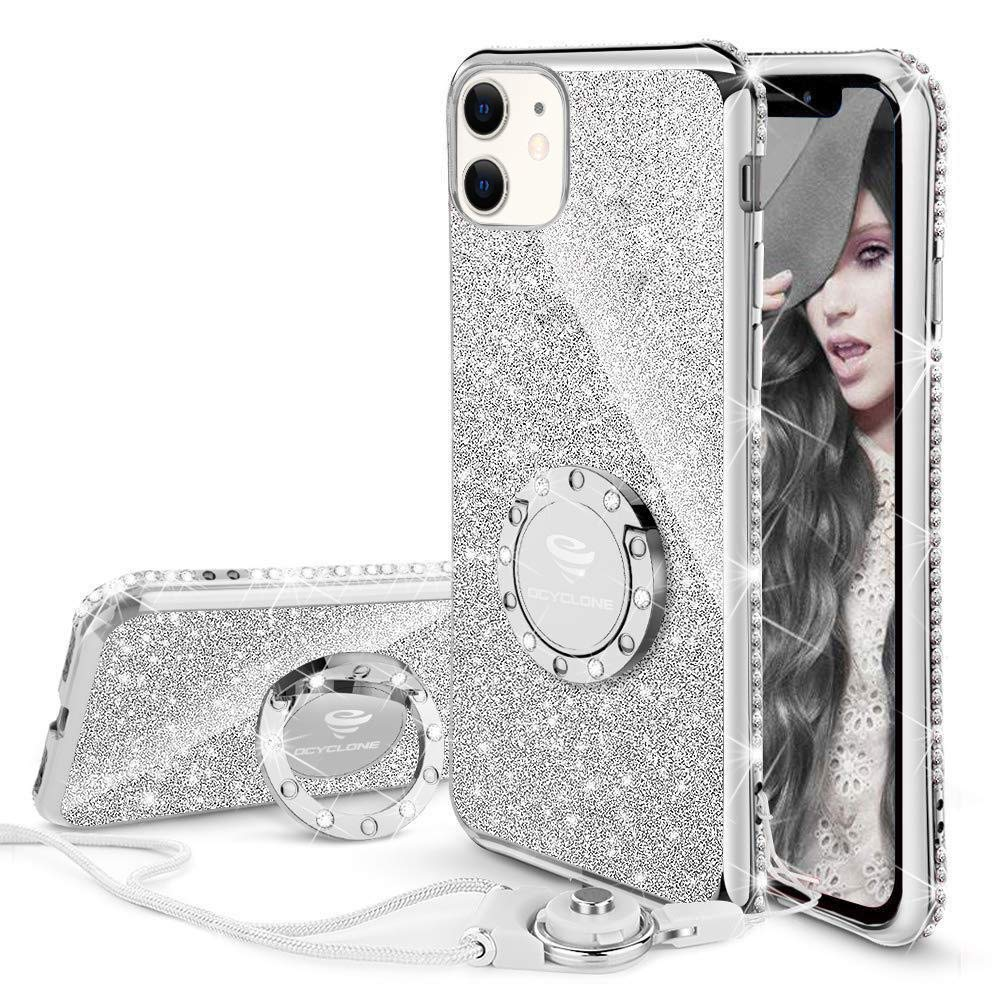 OCYCLONE Cute iPhone 11 Case, Glitter Luxury Bling Diamond Rhinestone Bumper with Ring Grip Kickstand Protective Thin Girly Pink iPhone 11 Case for Women Girl [6.1 inch] 2019 - Silver
