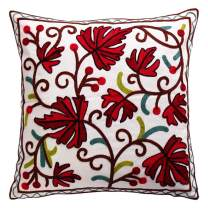 Oneslong Decorative Pillows Cover for Couch Embroidered 18x18 Inch Throw Pillow Cases Cover Red Leaves Pattern for Couch Sofa Bed Living Room 100% Cotton