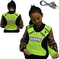 AMNQUERXUS Machine Washable Reflective Running Vest with LED Lights USB Rechargeable Safety Gear with Adjustable Waist, High Visibility Light Up Flashing Vest Gifts for Men Women Kids Dog Walking