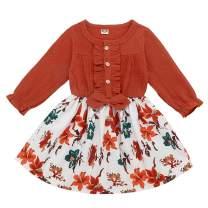 Toddler Girls Floral Dress Baby Denim Ruffle Long Sleeve Top Sunflower Print Skirt Playwear Clothing Set
