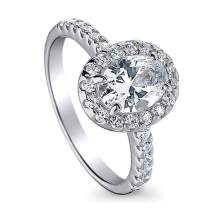 BERRICLE Rhodium Plated Sterling Silver Halo Promise Engagement Ring Made with Swarovski Zirconia Oval Cut 1.63 CTW