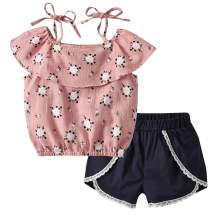 bilison Toddler Baby Girl Summer Outfits Ruffle Sleeve Floral Tops+Denim Shorts Pants with Flower Belt Clothes Set