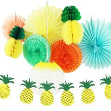 SUNBEAUTY Pineapple Party Decoration Set Summer Luau Beach Birthday Wedding Photo Backdrop Tropical Party Supplies 9 Pcs (Style 1)