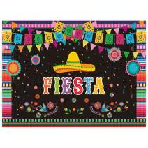 Allenjoy 8x6ft Mexican Fiesta Theme Backdrop for Photography Festival Birthday Party Decor Cinco De Mayo Carnival Colorful Flags Floral Banner Table Decor Background Photo Studio Booth Props Supplies