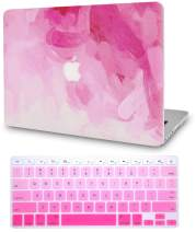 """KECC Laptop Case for MacBook Air 13"""" Retina (2020/2019/2018, Touch ID) w/Keyboard Cover Plastic Hard Shell Case A2179/A1932 2 in 1 Bundle (Pink - Water Paint)"""