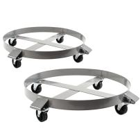 2 Heavy Duty Drum Dollies 1000 Pound - 55 Gallon Swivel Casters Wheel Steel Frame Non Tipping Hand Truck Capacity Dolly
