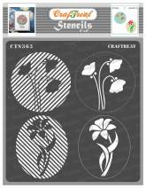 CrafTreat Flower Circle Stencils for Painting on Wood, Wall, Tile, Canvas, Paper and Floor - Flower Fusion Circles Stencil - 6x6 Inches - Reusable DIY Art and Craft Stencils for Painting Flowers