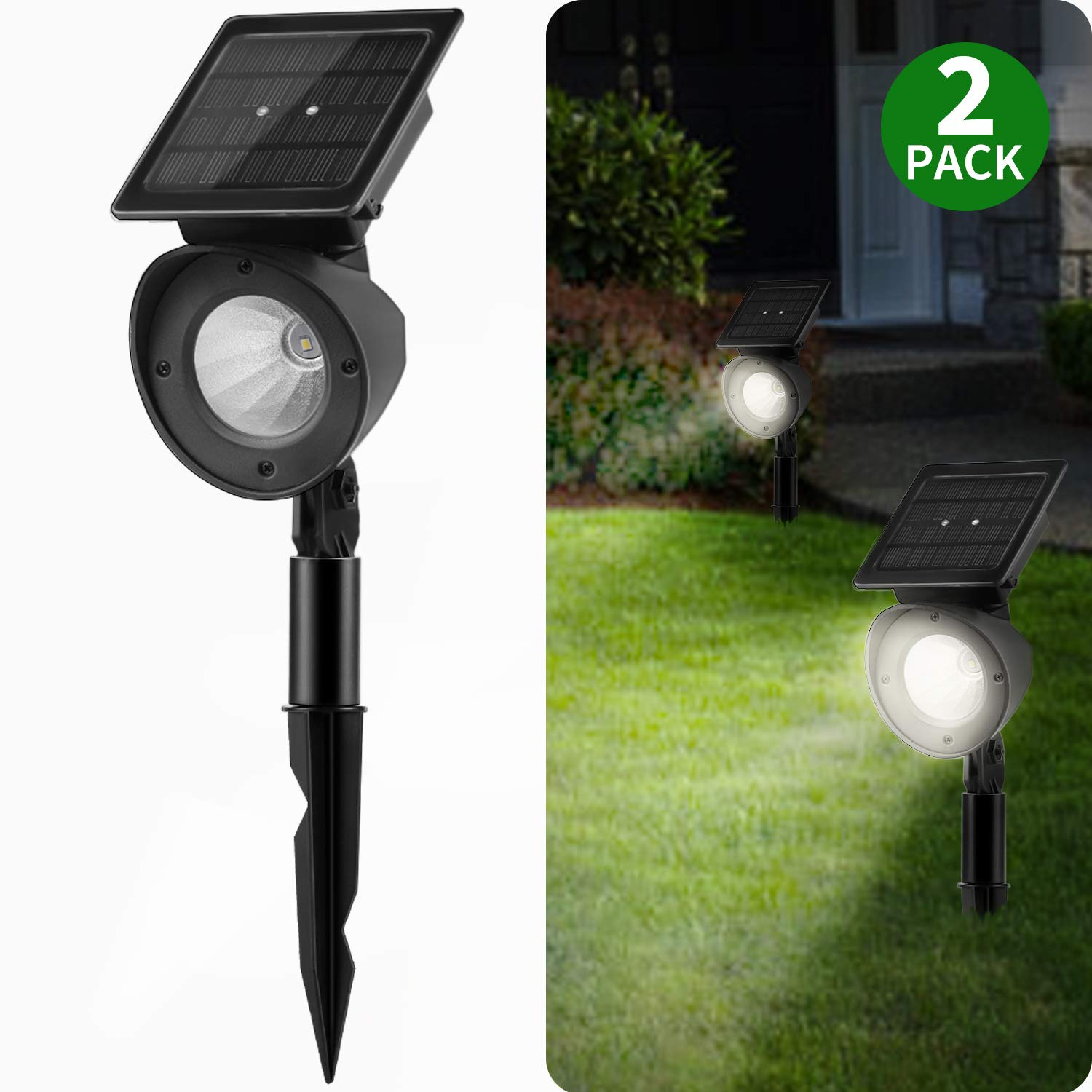 Solar Landscape Spotlights Brightown Waterproof Adjustable Outdoor Led Spot Lights Wireless Automatic Landscaping Light For Yard Driveway Garden Pathway Lawn Walkway Pool Patio Pack Of 2