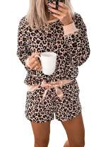 Asvivid Womens Leopard Printed Long Sleeve Short Pajamas Set Summer Soft Tee and Pants PJ Set Sleepwear Loungewear